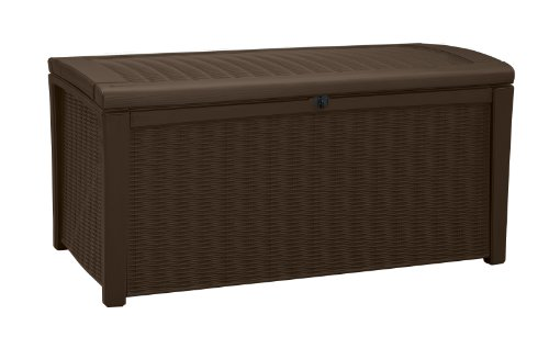 Keter Plastic Deck Storage Container Box Outdoor Patio Garden Furniture 110 Gal, Brown