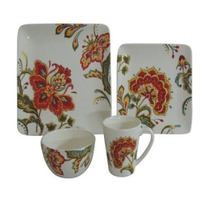 Better Homes and Gardens Floral 16-Piece Dinner Set, Ceramic