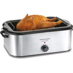 Hamilton Beach 24-Pound Turkey Roaster Oven, 22 Quart Capacity – Stainless Steel