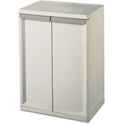 Sterilite 01408501 Heavy Duty Adjustable 2 Shelf Base Cabinets Storage w/Handles