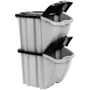 Suncast Stacking Recycling Bins, 2-Bin Value Pack  BH188810