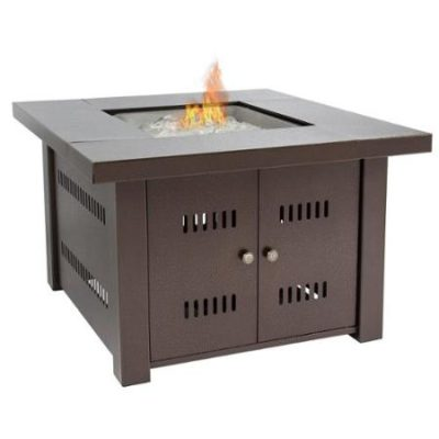 Gas Outdoor Fire Pit Table With Hammered-Antique-Bronze Finish With/ Cover