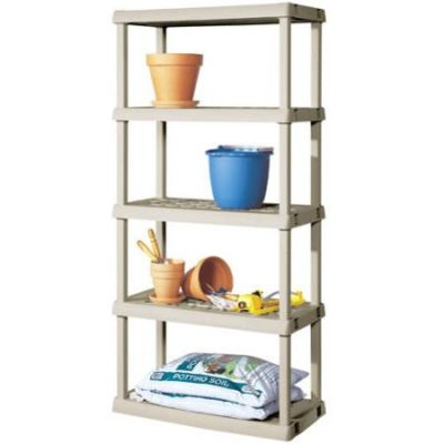 Sterilite 01558501 Heavy Duty 5-Shelf Ventilated Vertical Shelving Storage Unit